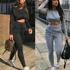 New 2 Pcs Loungewear Tracksuit  Ladies Casual Crop Top Jogging Suits Co-Ord Sets