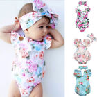 Baby Girl Floral Romper Newborn Headband Infant Jumpsuit Bodysuit Clothes Outfit