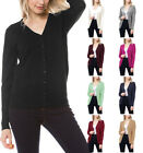 Wow Couture V-Neck Long Sls Cardigan Sweater with Sleeve Button Detail S ~ L