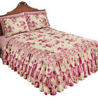 Rose Floral Leaightweight Quilted Ruffle Bedspread, by Collections Etc image