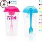 2PACK! Leak-Proof Fresh Salad Shaker Lunch to Go Container Set/Dressing Cup/Fork