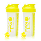 2 PACK! Sport Gym Protein Supplement Shaker Bottle 28oz/Pills Storage/Mixer Ball