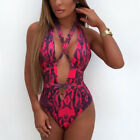 Sexy Women One-piece Monokini Bikini Padded Swimsuit V Thong Bathing Swimwear XL