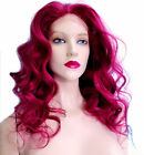 Glueless Silk Top Remi Remy Full Lace Wig Human Hair Indian Burgundy Red Long