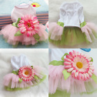New Small Dog Floral Dress Girl Satin Layered Party Wedding Pet Dog Clothes