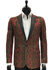 Manzini Red Black Gold Thread Textured Black Trim Lapel Party Formal Fun Blazer