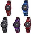 Women Starry Sky Rhinestone Magnetic Band Round Dial Quartz Wrist Watch Perfect image