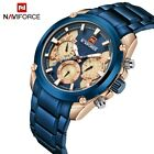 NAVIFORCE Men's Fashion Sports Quartz Watch Blue Gold Stainless Steel Wristwatch