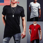 US Men's Slim Fit O Neck Short Sleeve Muscle Tee Shirts Casual T-shirt Tops New