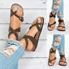 Casual Women Leather Sandals Slipper Shoes Toe Buckle Summer Stiching Fashion