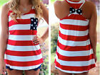 Red White Stripe Tank Top with Bow on the Back Patriotic, American Flag