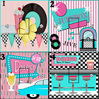 Blue And Pink Retro Standard Uk Light Switch Stickers