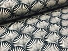 Art Deco FOUNTAIN Fan Geometric Floral Damask Fabric Curtain -140cm wide - Black