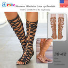 Womens Knee High Cut Out Lace Up Sandals Flat Gladiator Shoes Size 7.5-10