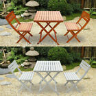 Balcony Bistro Outdoor Dining Set Garden Wood Folding Table & 2 Chairs Furniture