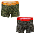 Mens Brave Soul 2 Pack Boxer Shorts Low Rise Briefs Jersey Underwear Trunk Pants <br/> Camo Soft Stretch Cotton Rich Assorted Twin Multipack