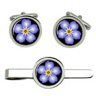 Forget-me-not Cufflink and Tie Bar / Clip Set
