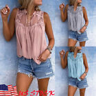 New Womens Summer Lace Vest Sleeveless Blouse Loose Casual Tank Tops T-Shirts US