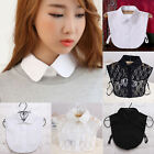 Vintage Women's Fake Half Shirt Blouse Peter Pan Detachable Collar Tie 2 Colors