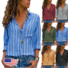 Womens Long Sleeve Office Loose Blouse Casual Tops Ladies V-neck Button-up Shirt