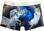 Unicorn Kitty Cat Rainbows in Space Boxer Briefs for Men