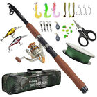 Telescopic Spinning Rod and Reel Combo Rod Fishing Gear with Line Lures Full Set