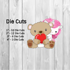Valentine Unicorn Holding A Teddy Bear Die Cuts, Punchies, Toppers, Party Favors image