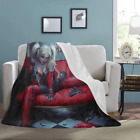Custom Harley Quinn Lightweight Super Soft Microfiber Bed Fleece Throw Blanket image