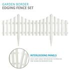4pc Garden Lawn Border Edge Picket Fencing Set White Plastic With Wooden Effect