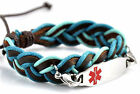 Medical ID Bracelet, Wristband, Steel ID Tag,Leather, Adult, Blue, White, Brown