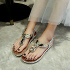 Summer Womens Clip Toe Sandals Beach T Strap Slippers Elastic Ankle Flats Shoes