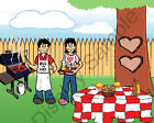 Backyard BBQue Couple Toon Character Personalized Matted Print 11 x 14