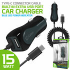 Cellet High Power 3 Amp Type-C USB Car Charger + USB Port for Note 10 S10+ Pixel