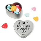 Luxury First Christmas 2018 keepsake heart shaped tin. Gift for baby's 1st Xmas