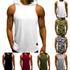 Men Sport Muscle Hoodie Tank Top Gym Fitness Workout Sleeveless Vest T-Shirt Tee image