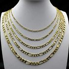 """REAL 10K Yellow Solid Gold 2mm-6mm Figaro Link Chain Necklace Bracelet 7""""-30"""" image"""