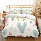Grey Small Mouse 3D Quilt Duvet Doona Cover Set Single Double Queen King Print image