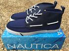 NEW Nautica Deck Shoes Mid Men's Navy Blue White Canvas & Nylon Boat NM259F
