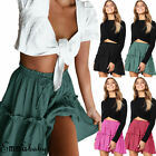 Women Cocktail Casual Skater Mini Skirt High Waisted Plain Flared Pleated Short