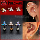 Opal Crystal 3-stone Triangle Ear Cartilage Helix Ring Bar Stud Piercing Earring