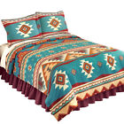 Southwest Cheyenne Aztec Native American Turquoise Fleece Lightweight Coverlet image