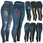 High Waist Womens Faux Denim Jean Leggings, Slim Stretch Pencil Jegging
