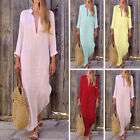 Women Cotton Linen Maxi Dress Long Sleeve Casual Boho Kaftan Tunic Plus Size