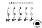 Dallas Stars Silver Belly Button Navel Ring - Customize Gem Color - NEW $19.99 USD on eBay