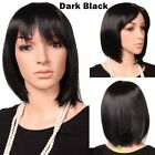 Short Bob Cut With Bangs Full Wig Ombre Brown Black Hair Wigs 100 Real Natural N
