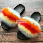 Fluffy Womens Fur Slides Fuzzy Furry Soft Slippers Slip On Sandals Casual Shoes