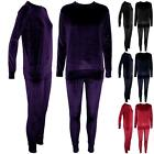 Womens Ladies Long Sleeve Velvet Velour Jogging Bottom Top Loungewear Tracksuit