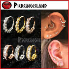 Silver Gold Ear Nose Cartilage Septum Crystals Ring Piercing Small Hoop Earrings