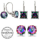 14K White Gold Filled Princes Cut Mystic Rainbow Fire Topaz Lever Back Earrings image