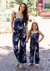 Family Matching Outfits Mother and Daughter Jumpsuit Girls Navy Floral Rompers